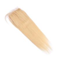 fermetures de soie achat en gros de-Fermeture de la chevelure en soie avec des cheveux raides indiens 613