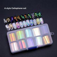 diyanet sanatları toptan satış-BellyLady 10 Rolls / kutu Tırnak Folyo Seti Tırnak Etiket Çıkartmaları Komple Sarar Manikür DIY Sanat Çıkartmalar