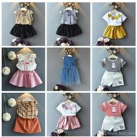 Wholesale girl clothing for sale - 13 new designs Baby girls summer outfits striped shirt shorts skirts children clothes set kids boutiques suit sweet outwear