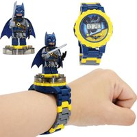 Wholesale super blocks resale online - Super hero Watches DC Marvel Avengers Action Figure Toys Cartoon Building Block Watch for kids toys Christmas Gift With Box Package