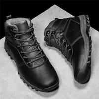 botines negros con cordones al por mayor-Mens militar de la bota del Ejército de cuero genuino de la vendimia atan los zapatos de seguridad a prueba de agua Desierto Negro combate táctico cargadores del tobillo de los hombres