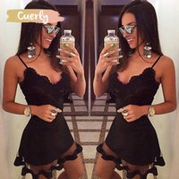 Wholesale pencil prom dresses resale online - Women Shrink Dresses Lace Lotus Sexy Solid Waist Sling Sleeveless Bodycon Dress Party Prom Short Mini Dress