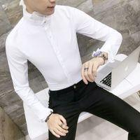 Wholesale korea lace collar for sale - Group buy Designer Lace Collar Shirt For Men Korea Fashion Shirt Men Social Dress Shirts Wedding Long Sleeve Black White Camisa Masculina