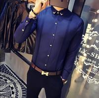 uzun kollu siyah polo gömlek toptan satış-Erkek Gömlek Damat Gömlek Slim Fit Smokin Gömlek Erkek Uzun Kollu Kırmızı Siyah Beyaz Günlük Gömlek Erkekler Artı boyutu Giyim