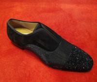 4d59bbcc3 19SS Alfa Masculino P Strass Plano Preto Denim Couro Deslizamento No Fundo  Vermelho Mocassins Sapatos Para Vestido Cavalheiro, Casamento de Negócios  Moda ...