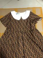 roupas de bebê para estoque venda por atacado-Meninas roupas EM ESTOQUE! Varejo Infantil bebês Vestidos Bebê menina festa de verão rendas vestido de princesa crianças s carta impressão vestido