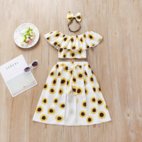 Wholesale off shoulder long tops resale online - 2019 Trendy Baby girl clothing Ins Sunflower Crop top Off the shoulder Shorts Skirt Set Fashion Baby girl clothes Hot selling