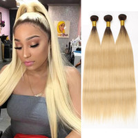 Wholesale bleached honey human hair weave resale online - Beyo B Honey Blond Ombre Bundles Peruvian Straight Hair Bundles Human Hair Bundle Deals Two Tone Colored Remy Hair Extension