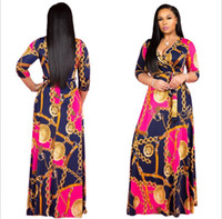 Wholesale african print fabric dresses resale online - Plus Size African Clothes Dashiki Dress for Women Casual Summer Hippie Print Dashiki Fabric Femme Boho Robe Femme