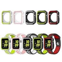 silikon tasche armband großhandel-Schutzhülle mit Silikon Sportband Bunte Handschlaufe für Apple Watch iwatch 38 / 42mm 40 / 44mm Armband Serie 3 4 Armband