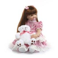 bonecas princess toddler venda por atacado-Bebe renascer 60 cm silicone renascer baby doll toys 24 polegada rosa princesa criança menina bebês boneca de presente de aniversário de alta qualidade play casa brinquedo