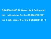 carenagem k8 venda por atacado-Corpo Para SUZUKI GSXR 600 GSX R600 GSXR600 08 09 10 GSXR-600 K8 2008 2009 2010 Carenagem + 2sideowl (esquerda + direita) Para CBR600RR 2011
