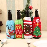 weinflaschen-säcke großhandel-Gestrickte Weihnachtsbierflasche-Abdeckungs-Beutel Weinflasche-Abdeckungs-Einrichtungsgegenstände Sankt-Sack-Schneemann-Bier-Haltesack-Weihnachtsdekor