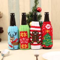 sacos de garrafa de vinho venda por atacado-Malha Tampa de Garrafa de Cerveja de Natal Sacos Tampa de Garrafa de Vinho Mobiliário Saco de Papai Noel Boneco de Neve Cerveja Segure Saco Decoração de Natal