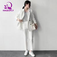 ingrosso vestito di ufficio grigio da donna-Nuovi Completi da donna coreana a righe Blazer grigio nero bianco con nove pantaloni Completo donna doppio petto ufficio due pezzi 2019