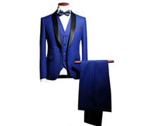 erkekler yelek ceketler toptan satış-Slim Fit Damat Smokin Düğün Balo Best Man Blazer için 3 Parça (Ceket + Pantolon + Yelek + Kravat) Erkekler Özel Made