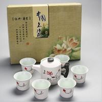 ücretsiz çin bardak toptan satış-1 set 7head çay kar sır Kung Fu çay setleri pota hediye kutusu Packagin porselen setleri