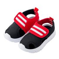 закрытая колодка для обуви оптовых-Летние детские сандалии в полоску с закрытым носком для детей Пляжная обувь без скольжения Удобные спортивные сандалии для малышей Мальчики и девочки