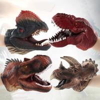 adereços de história de brinquedo venda por atacado-Crative Fantoches Engraçado Dinossauro Cabeça Mão Fantoche Role Play Toy Suave Não-tóxico História Diga Adereços Realista Dino Modelo Crianças Brinquedos