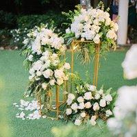 свадебные платья оптовых-10шт золото Цветочная ваза Белый цветок Стенд Колонка Стенд Металл-роуд Lead Свадебный Centerpiece Цветочные стойки для партии Event Свадебное украшение