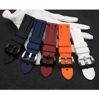 bracelets blancs noirs achat en gros de-22mm 24mm 26mm Rouge Bleu Noir Orange Blanc Bracelet en caoutchouc de silicone Bracelet de montre pour bracelet Bracelet Boucle PAM Logo sur