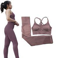 ingrosso vestito da ginnastica di yoga-Ghette senza giunte di energia e reggiseno sportivo Donna Yoga Set 2 pezzi Tuta Palestra Fitness Abbigliamento Sport Outfit per le donne # 573779