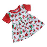 vestidos de melancia venda por atacado-Vestidos de Impressão do bebê Crianças Roupas de Grife Meninas Crianças Vestidos Princesa de Manga Curta Saia Deformação Melancia Outfits 35