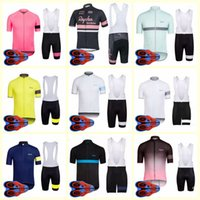 Wholesale short sleeve cycling jersey rapha resale online - RAPHA team Cycling Short Sleeves jersey bib shorts sets Men clothing breathable quick dry outdoor mountain bike Sportswear U82219