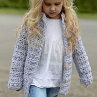 chaquetas infantiles de punto al por mayor-Venta al por menor chaquetas para niños suéter de punto de moda para bebés cardigan de un solo pecho abrigo para niñas abrigos ropa para niños ropa de boutique