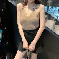 Wholesale korea lace collar resale online - Women Korea Versatile Lace Sweet Knit Summer Off Shoulder Slim Solid Color Sexy Strap V Collar Camisole