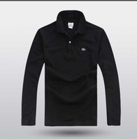 camisa de manga comprida lisa e preta venda por atacado-T-shirt dos homens europeus e americanos de manga comprida de algodão levou simples casual T-shirt de manga comprida de algodão T-shirt com camisa de lapela preta1190