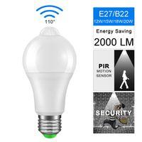12w светодиодная лампа оптовых-Night Light LED светодиодные лампы PIR датчик движения AC 85-265 B22 E27 Лампа Лампа 12W 15W 18W 20W зари до зари Свет для дома