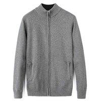 cardigans xxl al por mayor-Marca nueva moda de hombres suéter cremallera chaqueta de pie de tamaño de cuello tejer 3colors M L XL XXL