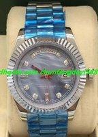 bracelets de diamant bleu achat en gros de-Montre de luxe 2 Style II Auto Shell 41mm Or Blanc Diamants Cadran Bleu Hommes Bracelet Automatique De Mode Montres Montre-Bracelet