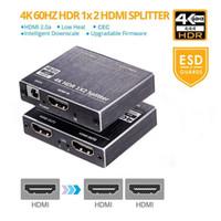 asus transformatörü şarj kablosu toptan satış-HDMI Splitter 1x2 Desteği HDCP 2.2 3D HDMI Splitter 2.0 Blu-ray DVD HDTV Için 4 K 1 Giriş 2 Çıkış Anahtarı Kutusu