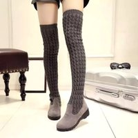 Wholesale thigh high wedge plus size boots resale online - Winter Autumn Women Over The Knee Boots Knitted Woman Boots Round Toe Flat with Shoes Female Footwear Colors Plus Size