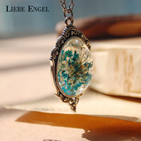 Wholesale vintage dried flowers resale online - LIEBE ENGEL Department of Forestry Original Natural Dried Flower Small Pure and Fresh Pendant Necklace Vintage Silver Color