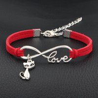11159f376 Hot New Women Men Weaving Individuality Red Leather Suede Bracelet & Bangles  Pure Manual Weaving Infinity Love Quiet Cat Animal Jewelry Gift