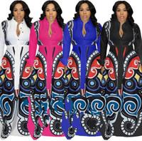 tallas grandes vestidos africanos al por mayor-Vestidos de estampado africano de gran oscilación blanco Ropa de mujer Tallas grandes Vestido de estampado de mariposa elegante y atractivo Robe Ropa de diseño vintage