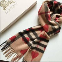 Wholesale brand shawl for sale - Group buy 2019 hot new Burberry Brand Long Scarf size x70cm Women autumn Red heart Cashmere Scarf Warm cotton Scarves Plaid Shawls