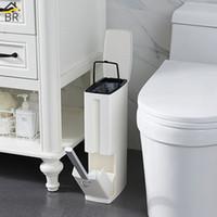 plastic trash bin venda por atacado-6 L De Plástico Lixo Lixo Pode Definir com Escova De Toalete Do Banheiro Waste Bin Lata de lixo Latas de Lixo Balde De Lixo Dispensador De Saco De Lixo