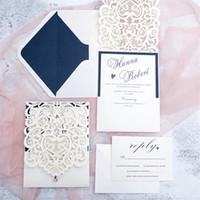 impresión de tarjetas de invitación de boda al por mayor-Tarjetas de Invitaciones de boda Hollow personalizadas calientes Tarjetas de invitaciones de boda cortadas con láser Suministros de boda Impresión personalizada gratuita
