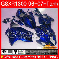 kit de carenado hayabusa azul al por mayor-Kit para SUZUKI azul perla caliente Hayabusa GSX-R1300 1996 1997 1998 2007 24HC.22 GSXR 1300 GSXR1300 96 97 98 99 00 01 02 03 04 05 06 07 Carenados