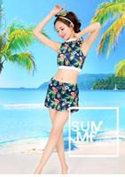 trajes de baño de moda faldas al por mayor-Nuevo traje de baño atractivo de la manera Pequeño pecho Reunidos conservador Split Mostrar delgada falda estilo japonés y coreano traje de baño