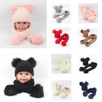 Wholesale fur ball scarfs for sale - Group buy 8styles Baby Winter Beanies Scarf Set Pom Pom Knit Hats Scarves Girls Solid Fur Skull Caps Wraps Double Ball Wool Cap Neckerchief FFA3159