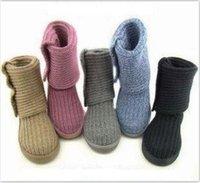 kuhfell großhandel-Marke UG Frauen-Winter-Schnee-Aufladungen Australian Art Knitting gewendeten Kuh Veloursleder-Pelz-warme Knöchel-Stiefel-Knopf Wolle stricken Schuhe C101406