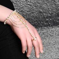 pulseira de anel de dedo nupcial venda por atacado-Coreano Rhinestone Pérolas Cadeia Pulseira Wedding Party Bridal Ring Finger Bangle Set Moda Jóias Presentes Para As Mulheres Ajustáveis