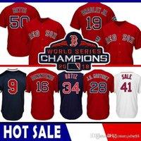 beyzbol formaları kırmızı toptan satış-41 Chris Sale Boston Red Baseball Jersey Sox 50 Mookie Bahisleri 34 David Ortiz 28 JD Martinez 15 Pedroia Benintendi CGRF