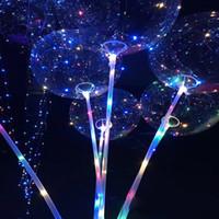 parlak gece ışıkları toptan satış-Yeni LED Işıkları Balonlar Gece Aydınlatma Bobo Topu Renkli Dekorasyon Balon Düğün Dekoratif Sopa Ile Parlak Parlak Balonlar