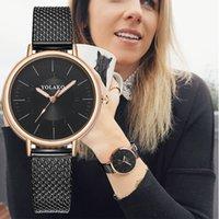 relógios de moda de plástico venda por atacado-YOLAKO Marca Moda Feminina Rose Gold Relógio De Pulso De Quartzo de Luxo De Couro De Plástico Relógio Relógios reloj mujer de acero